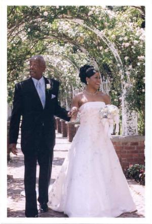 Dad walking Cecilia down the aisle in South Orange, New Jersey, The Manor. June 28, 2003